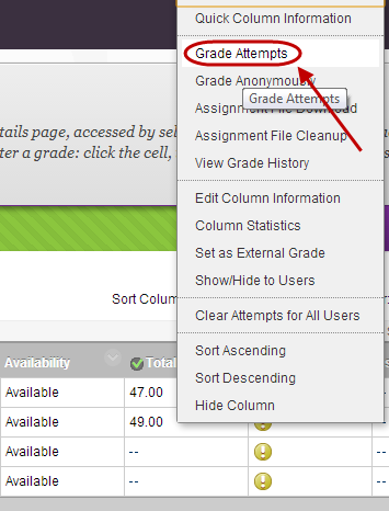click on grade attempts