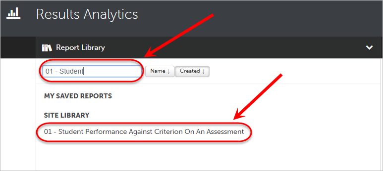 Search circled with the 01 - Student performance against criterion on an assessment circled.