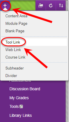 Add menu item with tool link circled