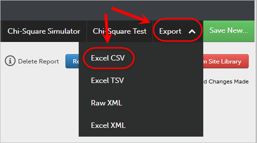 Export circled and Excel CSV circled.