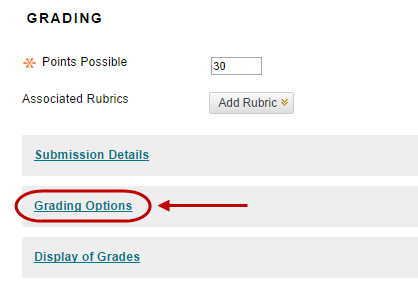 click on grading options