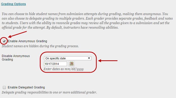 click on enable anonymous grading