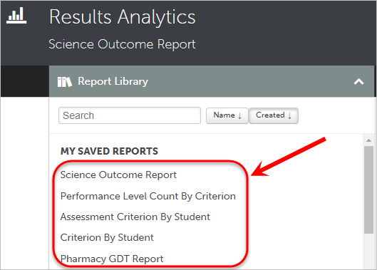 My Saved Reports circled