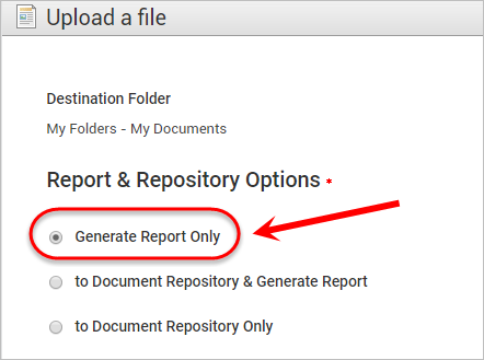 the generate report only option is highlighted
