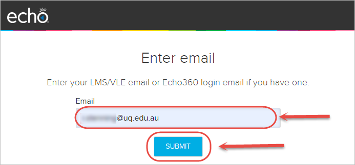 email textbox and submit button highlighted