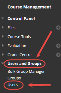 Control Panel with users and groups circled.