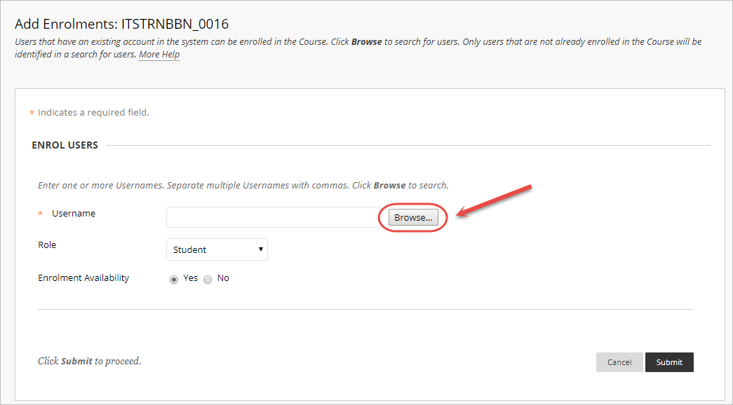 Add enrolments screen with the browse button circled
