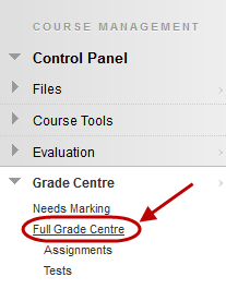 click on grade centre