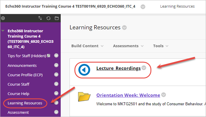 click on lecture recordings link