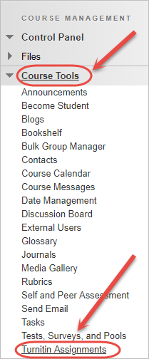 turnitin assignments is highlighted in the control panel menu