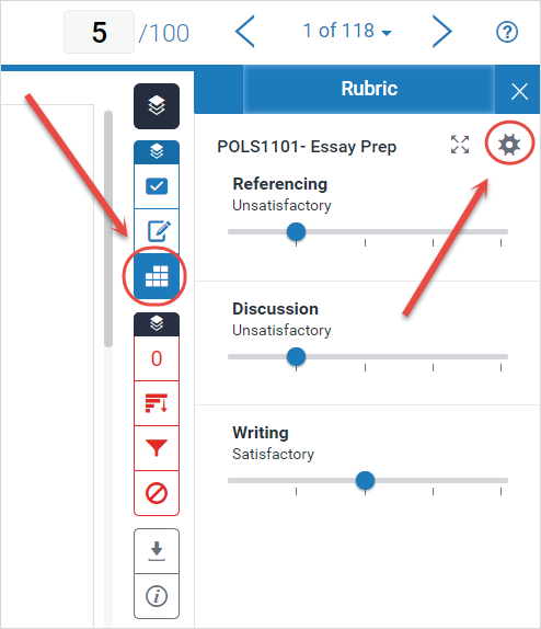 rubric and settings cog highlighted