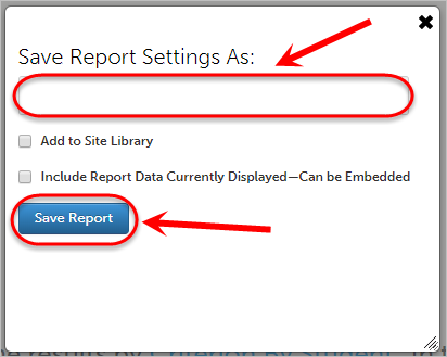 Save report settings as textbox circled as well as the save report button.