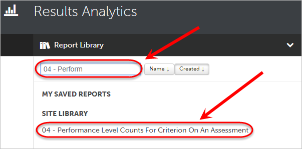 Search circled with the 04 - Performance Level Counts for Criterion on an Assessment circled.