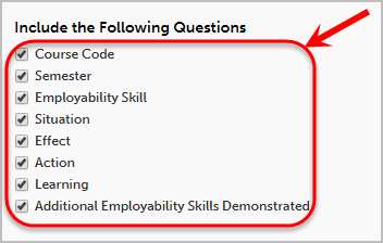 Checkboxes circled under Include the Following Questions.