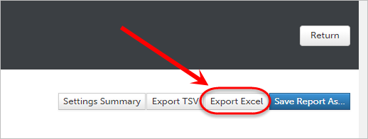 Export excel button circled.
