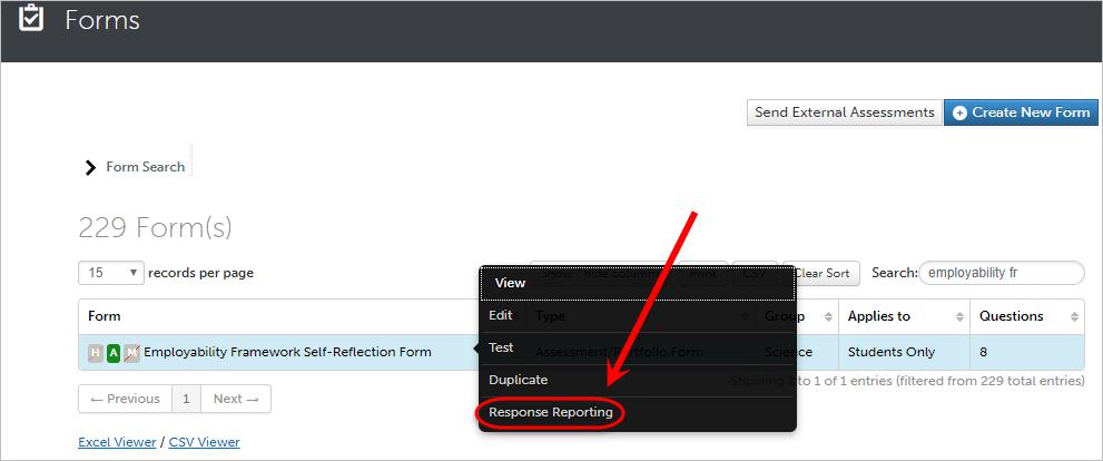 Response reporting circled in the drop-down menu.