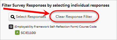 Clear response filter button circled.