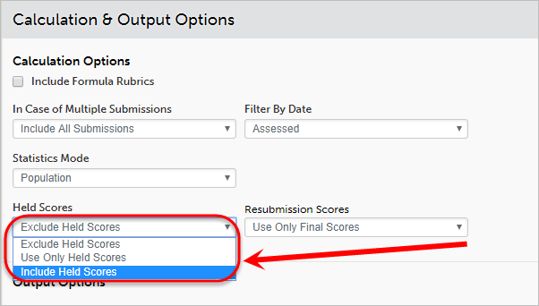 Held scores drop-down list circled with Include Held Scores selected.