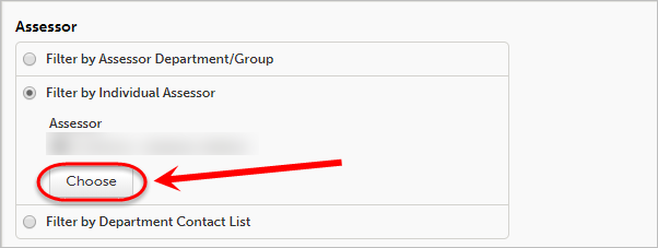 Choose button circled under Filter by Individual Assessor.