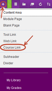 Drop down menu with course link circled