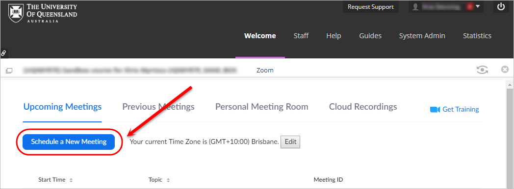 schedule new meeting button