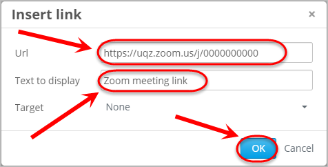 URL, Text to display text boxes circled along with the OK button