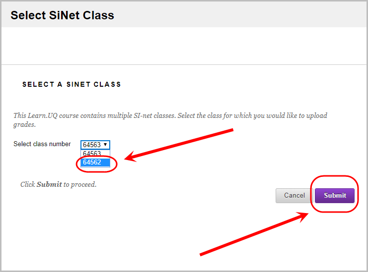 class number selected from drop down menu and submit button selected
