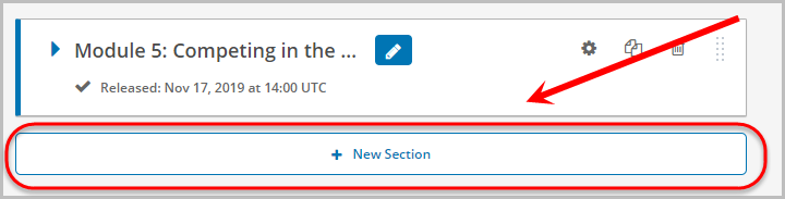 In section, new section button selected