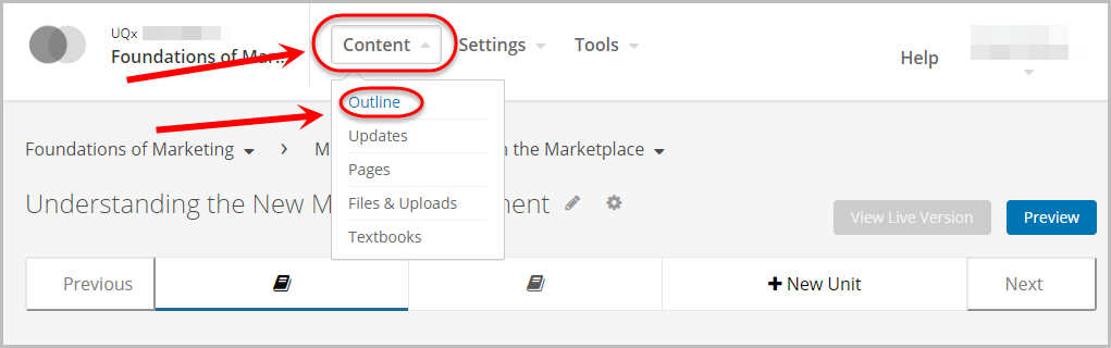 content menu selected, outline selected from dropdown menu