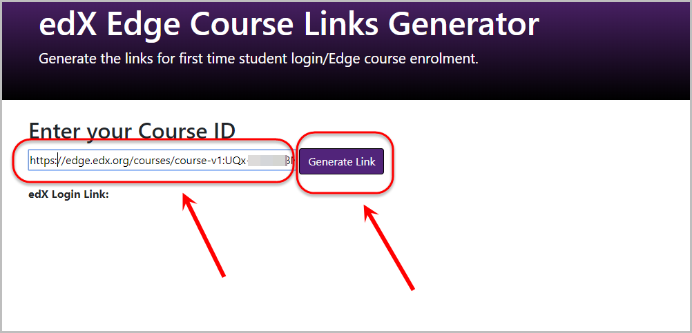 link pasted into enter your course id textbox, generate link button selected