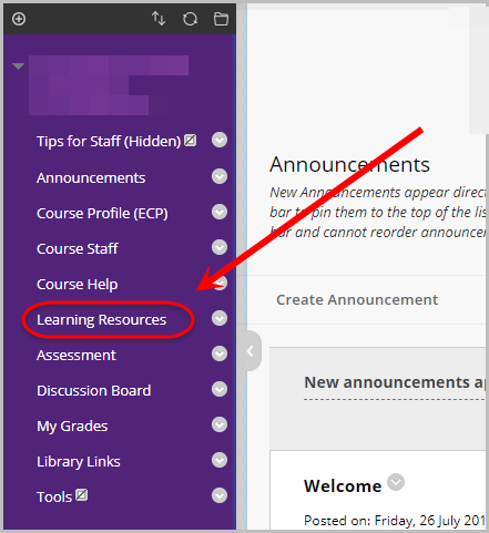in learn.uq course site, learning resources selected