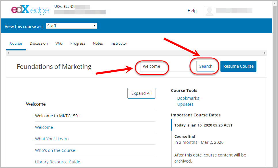 search the course textbox selected, search button selected