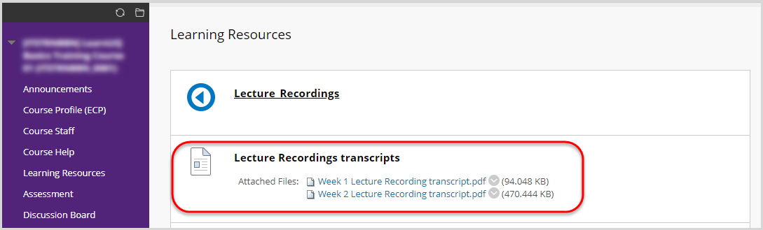 Lecture recording transcript link
