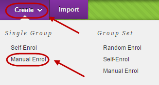 Create button circled with single group manual enrol circled in drop down menu