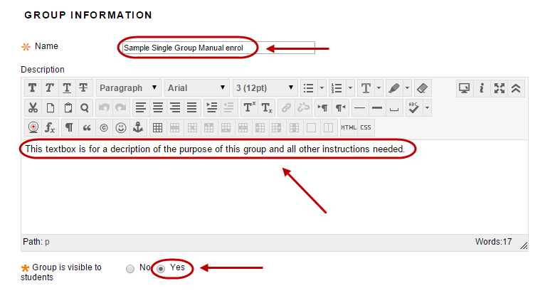 Group information settings with the required fields circled