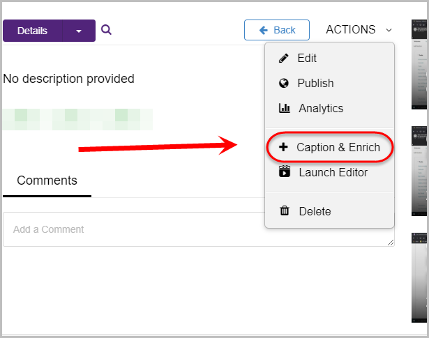 actions button circled then caption and enrich option circled