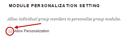 Module personalisation settings