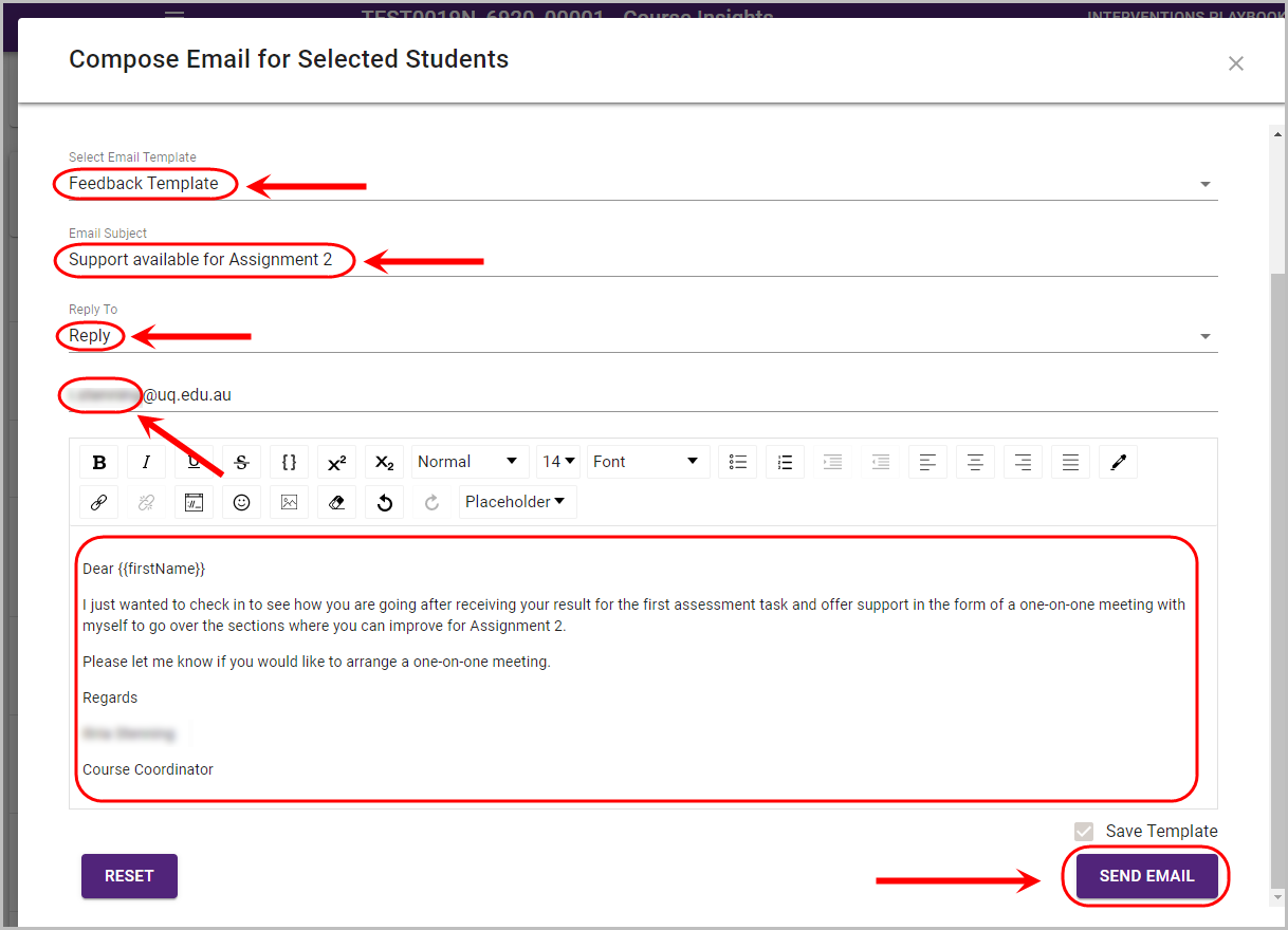 email students in course insights