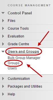 Control panel with groups circled under users and groups