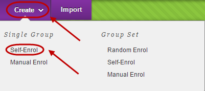 Create button circled with single group self-enrol circled in drop down menu