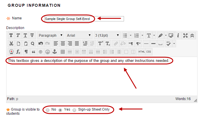 Group information setup with required fields circled.