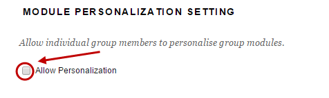 Module personalisation setting