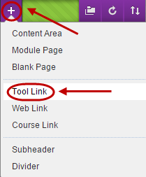 Plus button circled in the course menu and Tool link circled from drop down menu