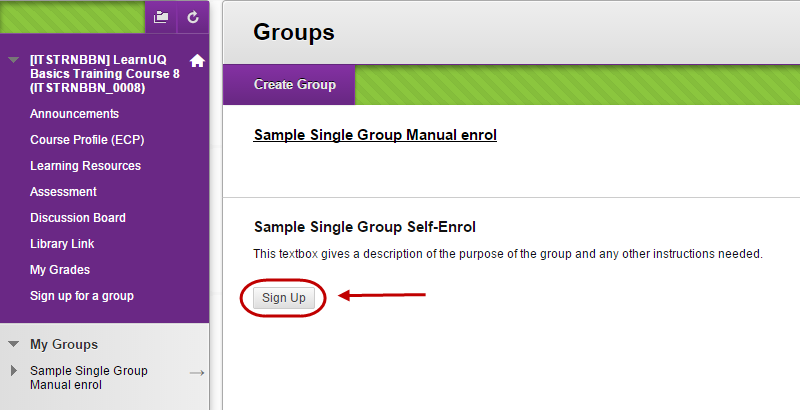 Student view of the group sign up page with the sign up button circled