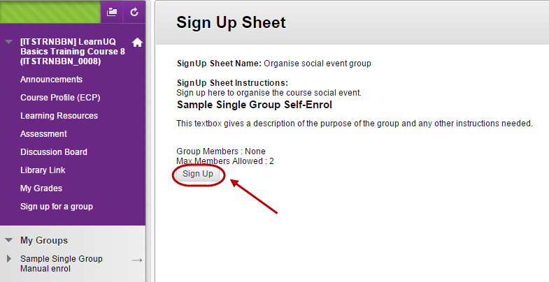 Sign up sheet with the sign up button circled