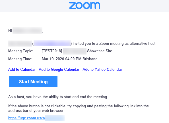 Email with alternate host meeting link
