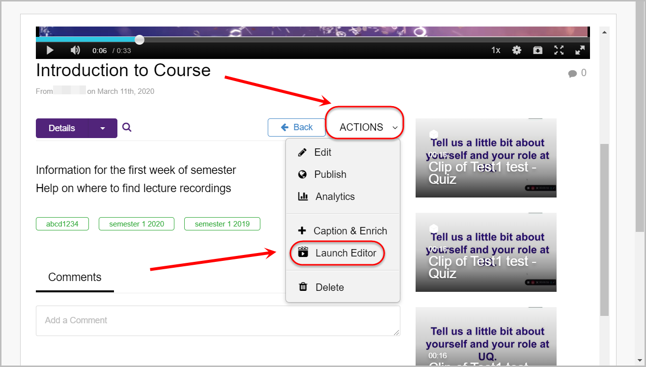 actions button selected, launch editor options selected