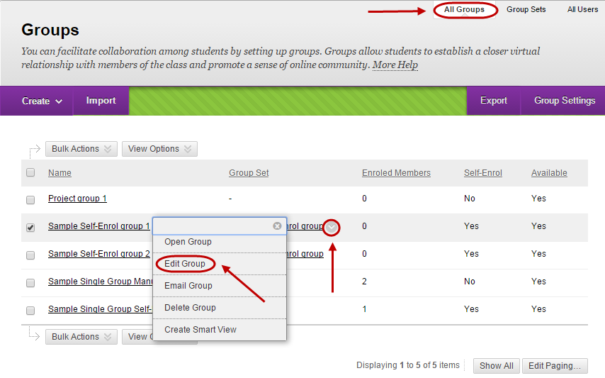 Drop down menu with edit group circled