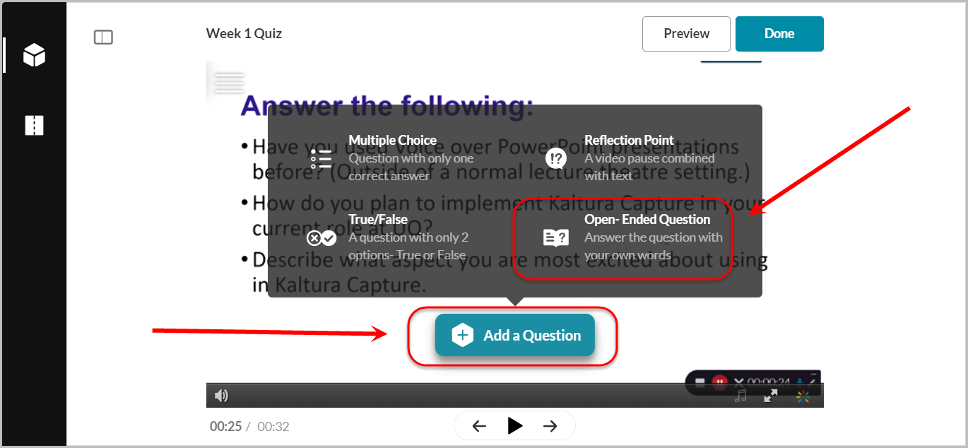 add a question button selected, open-ended question option selected