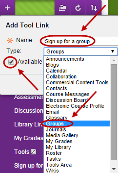 Add tool link With name field circled and groups selected from the drop down box.